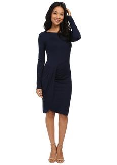 Three Dots Long Sleeve Pleated Drape Dress