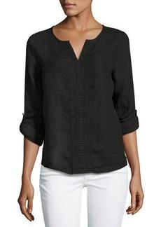 Three Dots Long-Sleeve Soft Linen Top