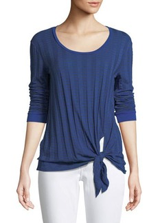Three Dots Long-Sleeve Tie-Front Pleated Tee