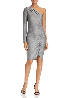 Three Dots Metallic One-Shoulder Dress