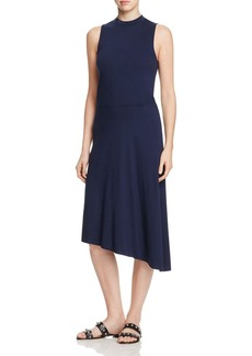 Three Dots Mock Neck Asymmetric Jersey Dress
