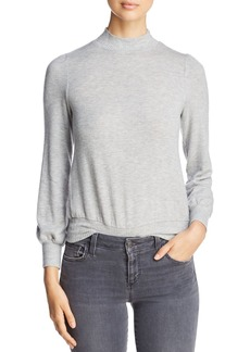 Three Dots Mock Neck Blouson-Sleeve Sweater