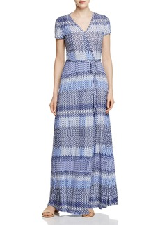 Three Dots Mosaic Print Maxi Wrap Dress