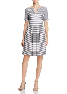 Three Dots Multi Stripe Pleated Dress
