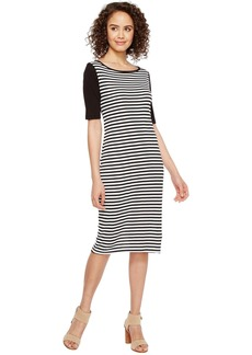Three Dots Mykonos Stripe Blocked Sheath