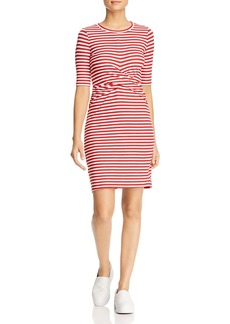 Three Dots Nantucket Stripe Twist-Front Dress
