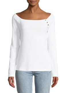 Three Dots Off-The-Shoulder Long-Sleeve Tee
