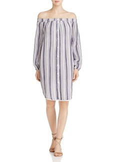Three Dots Off-the-Shoulder Shirt Dress