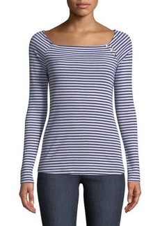 Three Dots Off-The-Shoulder Striped Long-Sleeve Tee