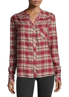 Three Dots Plaid Button-Front Top