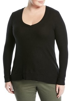 Three Dots Plus Solid V-Neck Sweater