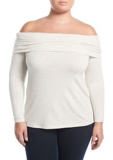Three Dots Plus Striped Off-the-Shoulder Top