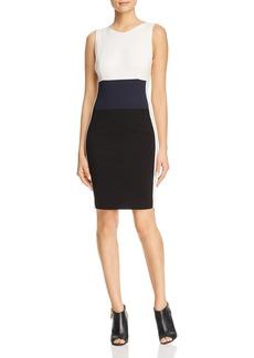Three Dots Ponte Color-Block Sheath Dress