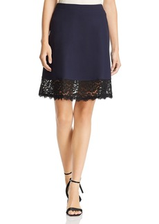 Three Dots Ponte Knit & Lace Skirt