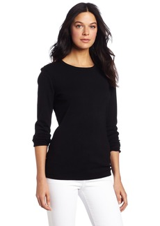 Three Dots Red Women's Long Sleeve Crew Neck Top