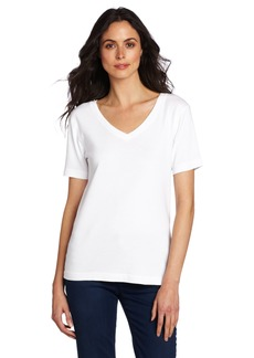 Three Dots Red Women's Mid Short Sleeve Top