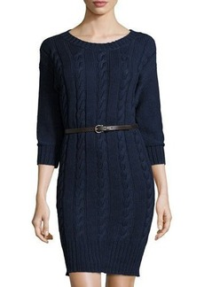Three Dots Reese Cable-Knit Belted Sweater Dress