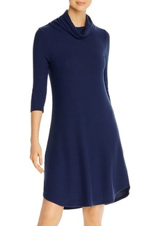 Three Dots Ribbed Cowl Neck Relaxed Dress