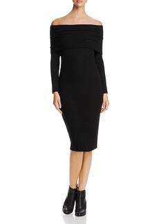 Three Dots Ribbed Off-The-Shoulder Dress