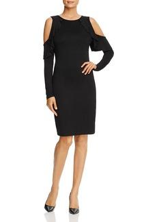 Three Dots Ruffled Cold-Shoulder Sheath Dress