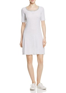 Three Dots Seamed Stripe Tee Dress