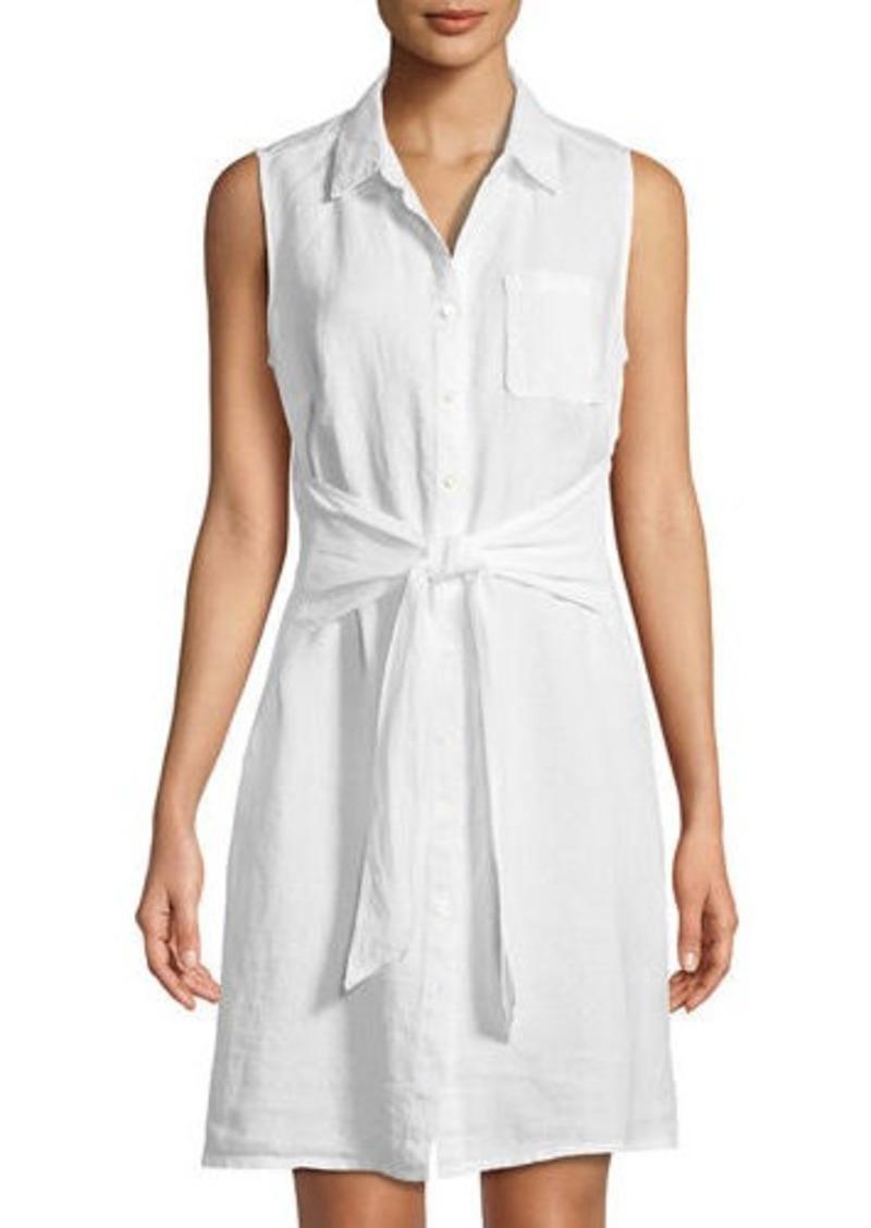 9ec8bbba48 Three Dots Three Dots Sleeveless Tie-Front Linen Shirtdress