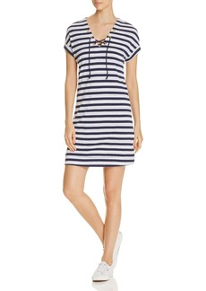 Three Dots Stripe Lace-Up Dress
