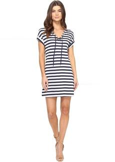 Three Dots Stripe Tie Front Dress