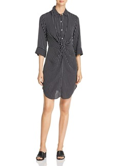 Three Dots Striped & Twisted Shirt Dress