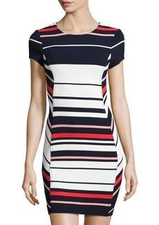 Three Dots Striped Body-Con Dress