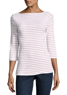 Three Dots Striped Fitted Crewneck Tunic