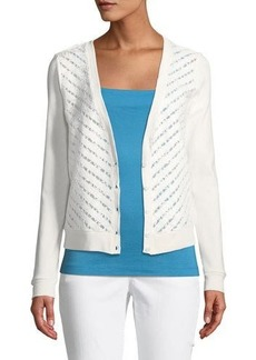 Three Dots Striped Lace-Front Cardigan