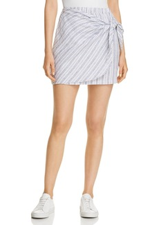 Three Dots Striped Linen Faux-Wrap Skirt