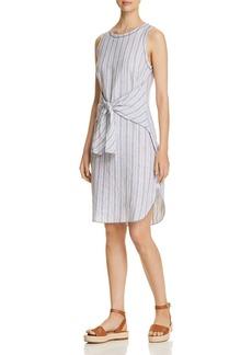 Three Dots Striped Linen Tie-Front Dress