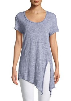 Three Dots Striped Linen Tie-Front Tee