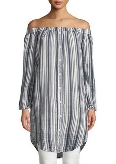 Three Dots Striped Off-The-Shoulder Tunic