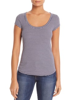 Three Dots Striped Scoop-Neck Tee