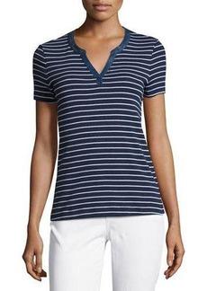 Three Dots Striped Short-Sleeve Henley Top