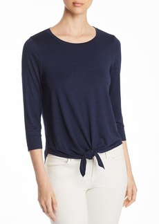 Three Dots Tie-Front Jersey Top