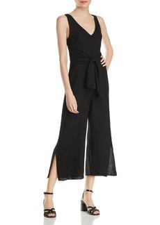 Three Dots Tie-Front Linen Jumpsuit