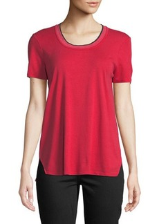 Three Dots Tipped-Neck Short-Sleeve Tee