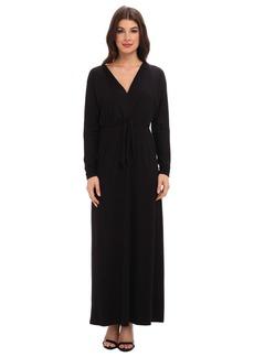 Three Dots V-Neck Maxi Dress w/ Tie Detail