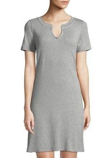 Three Dots V-Neck Short-Sleeve Heathered T-Shirt Dress