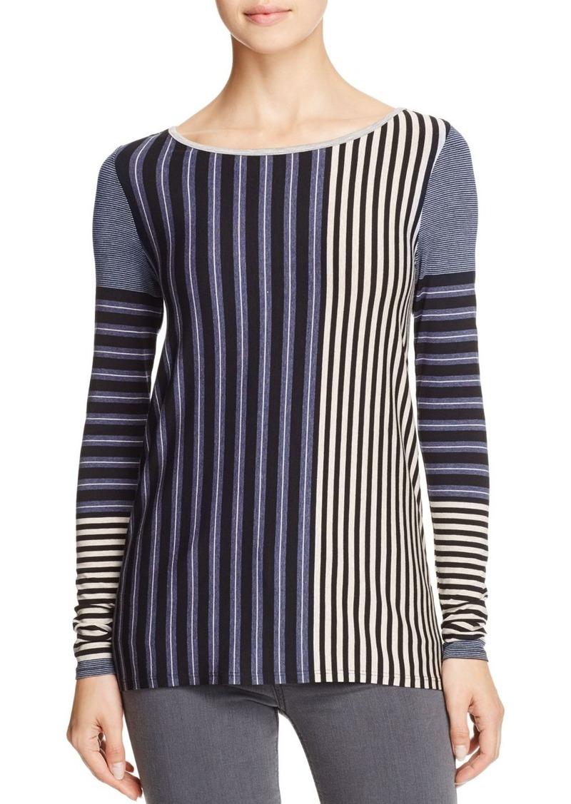 Three Dots Variegated Stripe Long Sleeve Tee - 100% Bloomingdale's Exclusive