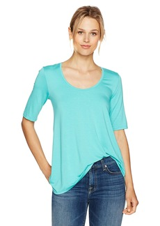 Three Dots Women's 1/2 SLV Relaxed High Low Tee  L