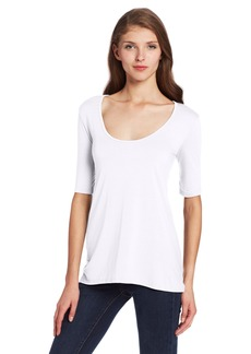 Three Dots Women's 1/2 SLV Relaxed High Low Tee  XS
