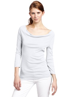 Three Dots Women's 1x1 Cotton Modal 3/4 Sleeve Cowl Neck  T-Shirt