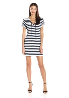 Three Dots Women's 1x1 Stripe Tie Front Dress  L