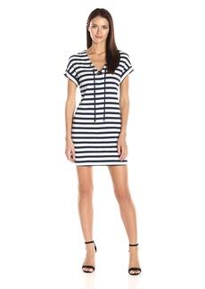 Three Dots Women's 1x1 Stripe Tie Front Dress  XS