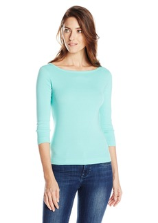 Three Dots Women's 3/4 Sleeve Boat Neck British Tee